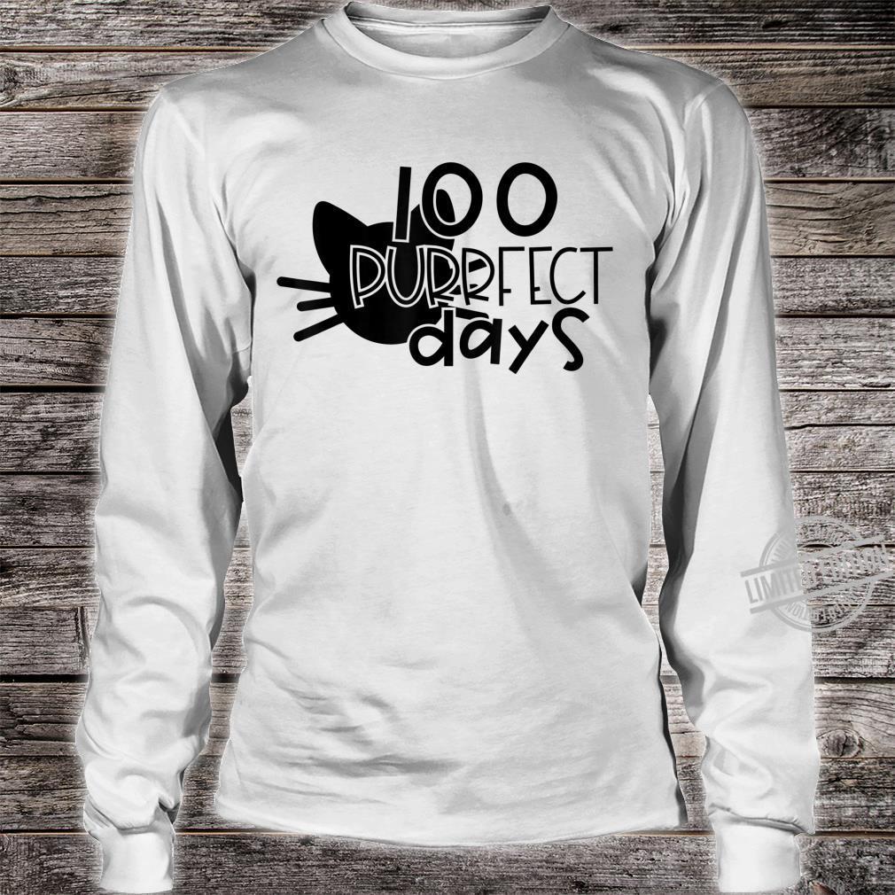 100 Purrfect Days Cat 100 Days of School and Teachers Shirt long sleeved