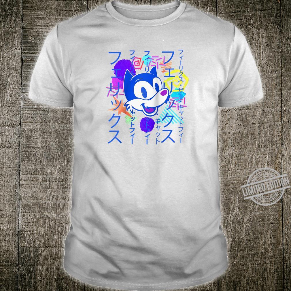 90s Vaporwave Watercolor Grunge Katakana Felix Cat Shirt