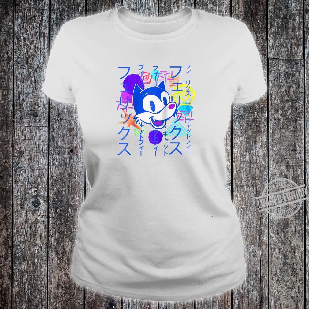 90s Vaporwave Watercolor Grunge Katakana Felix Cat Shirt ladies tee